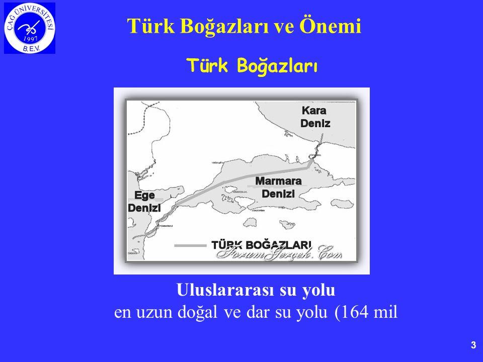 3 Türk Boğazları ve Önemi Türk Boğazları Uluslararası su yolu en uzun doğal ve dar su yolu (164 mil