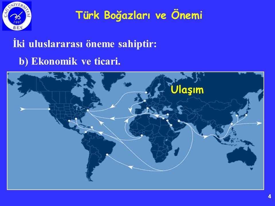 4 İki uluslararası öneme sahiptir: b) Ekonomik ve ticari. Türk Boğazları ve Önemi Ulaşım