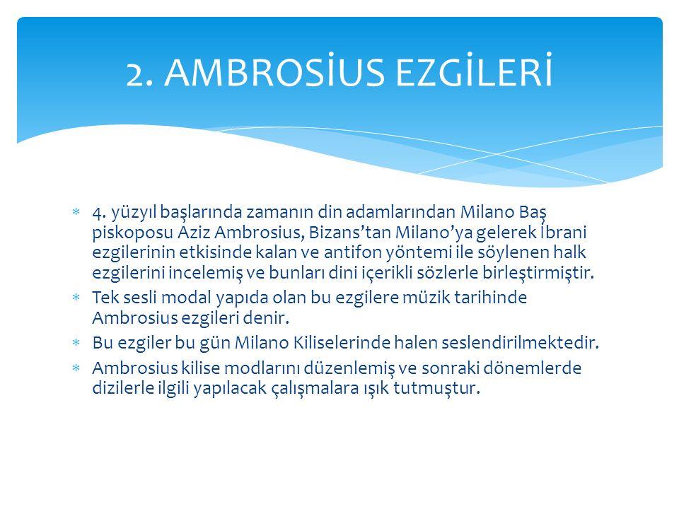  4. yüzyıl başlarında zamanın din adamlarından Milano Baş piskoposu Aziz Ambrosius, Bizans'tan Milano'ya gelerek İbrani ezgilerinin etkisinde kalan v