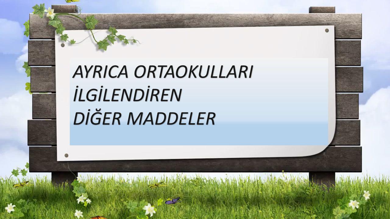 AYRICA ORTAOKULLARI İLGİLENDİREN DİĞER MADDELER