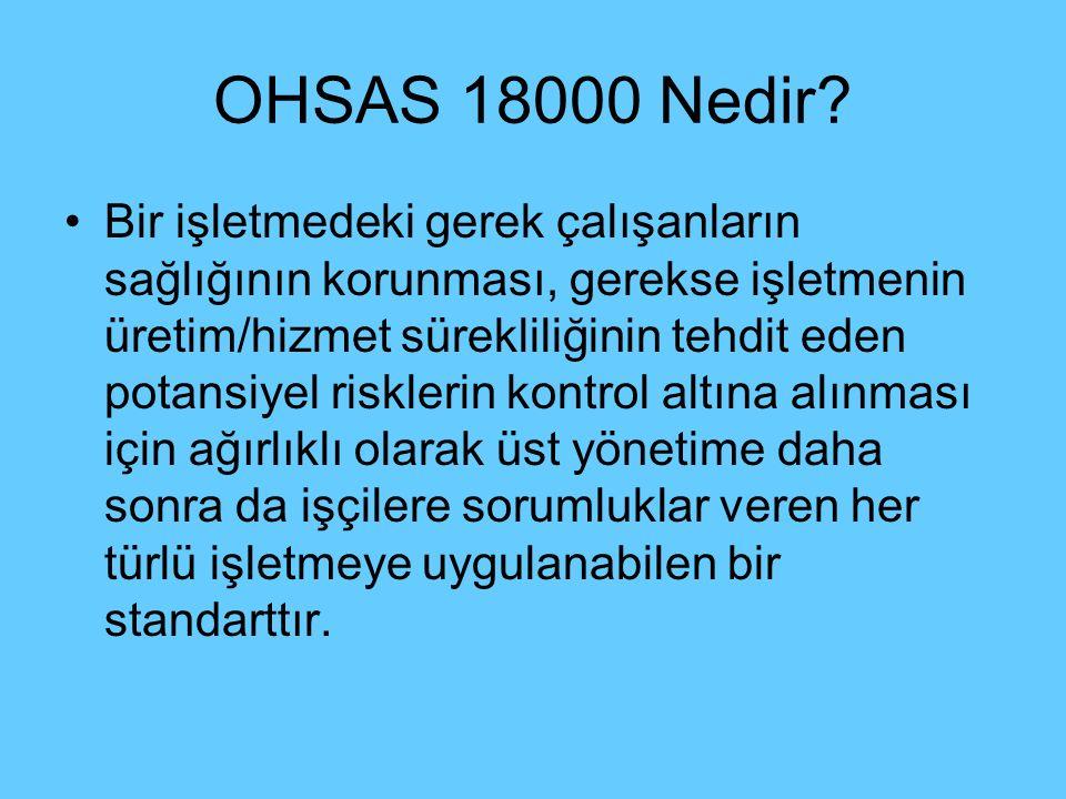 OHSAS 18000 Nedir? Bir işletmedeki gerek çalışanların sağlığının korunması, gerekse işletmenin üretim/hizmet sürekliliğinin tehdit eden potansiyel ris