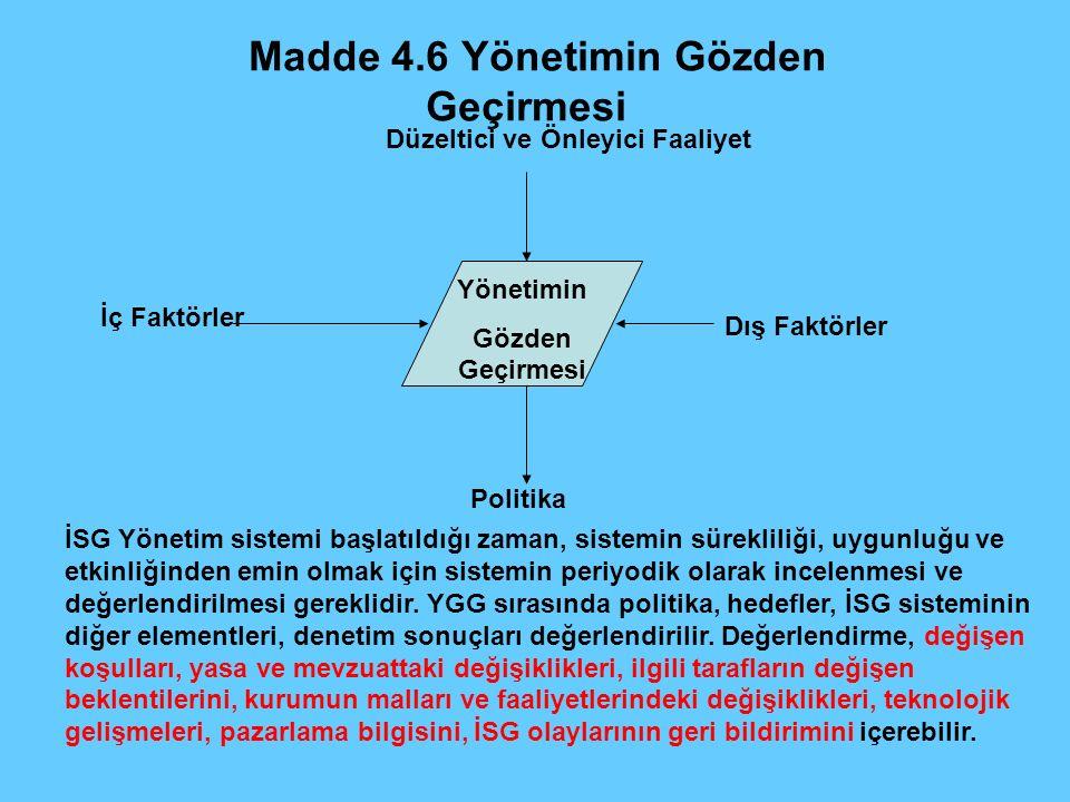 Madde 4.6 Yönetimin Gözden Geçirmesi Yönetimin Gözden Geçirmesi Düzeltici ve Önleyici Faaliyet Dış Faktörler Politika İç Faktörler İSG Yönetim sistemi