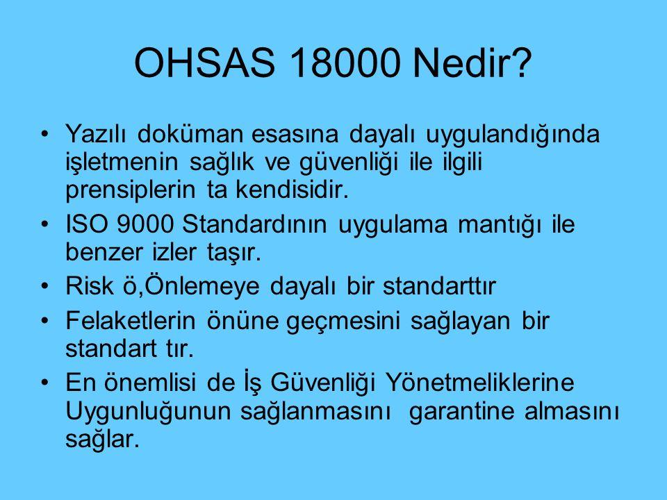 OHSAS 18000 Nedir? Yazılı doküman esasına dayalı uygulandığında işletmenin sağlık ve güvenliği ile ilgili prensiplerin ta kendisidir. ISO 9000 Standar