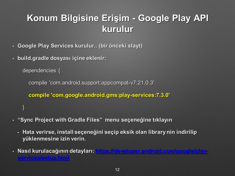 Konum Bilgisine Erişim - Google Play API kurulur Google Play Services kurulur..