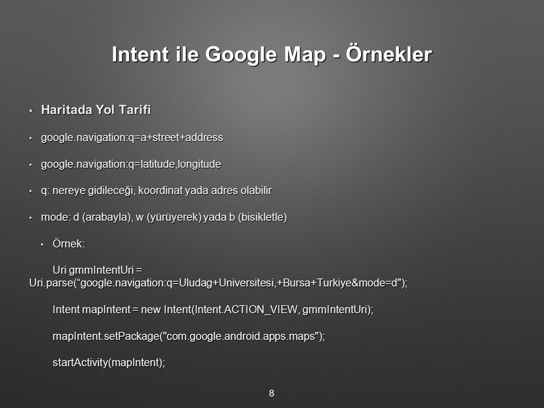 Intent ile Google Map - Örnekler Haritada Yol Tarifi Haritada Yol Tarifi google.navigation:q=a+street+address google.navigation:q=a+street+address google.navigation:q=latitude,longitude google.navigation:q=latitude,longitude q: nereye gidileceği, koordinat yada adres olabilir q: nereye gidileceği, koordinat yada adres olabilir mode: d (arabayla), w (yürüyerek) yada b (bisikletle) mode: d (arabayla), w (yürüyerek) yada b (bisikletle) Örnek: Örnek: Uri gmmIntentUri = Uri.parse( google.navigation:q=Uludag+Universitesi,+Bursa+Turkiye&mode=d ); Intent mapIntent = new Intent(Intent.ACTION_VIEW, gmmIntentUri); mapIntent.setPackage( com.google.android.apps.maps );startActivity(mapIntent); 8