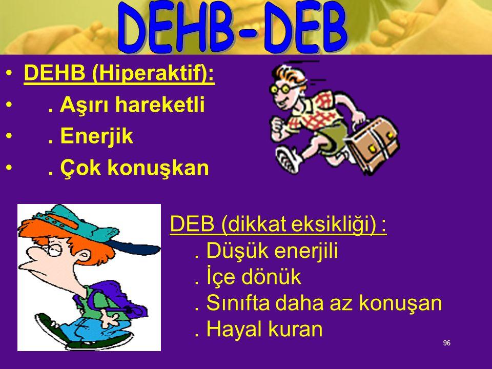 96 DEHB (Hiperaktif):. Aşırı hareketli. Enerjik. Çok konuşkan DEB (dikkat eksikliği) :. Düşük enerjili. İçe dönük. Sınıfta daha az konuşan. Hayal kura