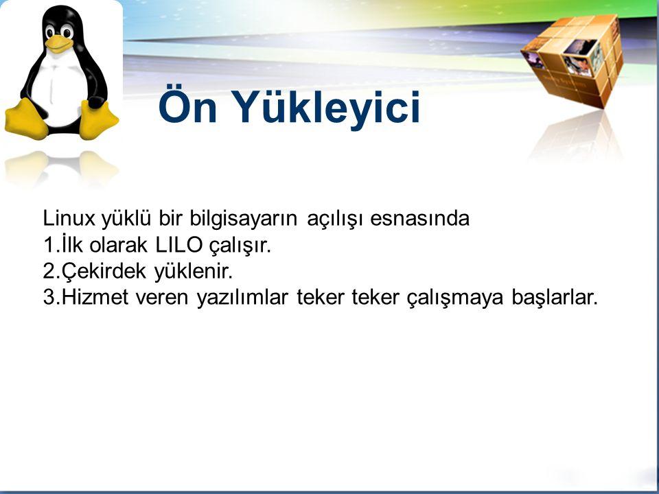 LOGO Linux yüklü bir bilgisayarın açılışı esnasında 1.İlk olarak LILO çalışır.