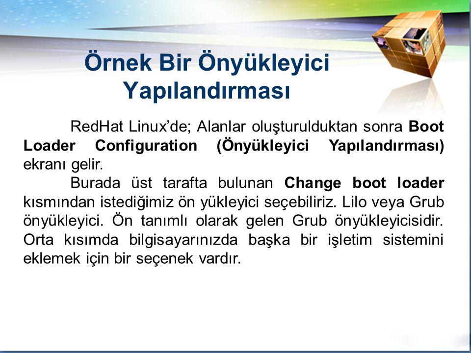 LOGO RedHat Linux'de; Alanlar oluşturulduktan sonra Boot Loader Configuration (Önyükleyici Yapılandırması) ekranı gelir.