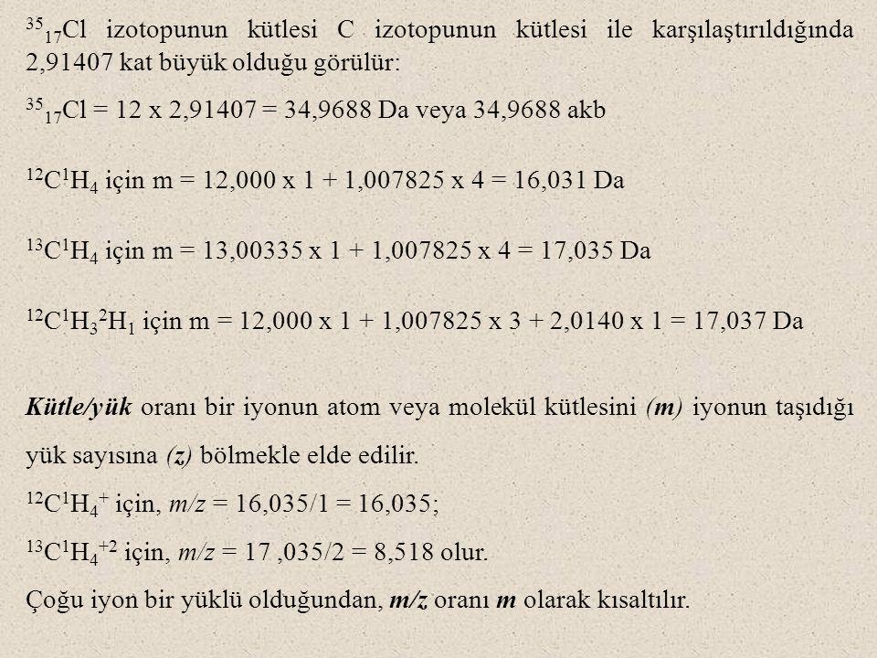 35 17 Cl izotopunun kütlesi C izotopunun kütlesi ile karşılaştırıldığında 2,91407 kat büyük olduğu görülür: 35 17 Cl = 12 x 2,91407 = 34,9688 Da veya