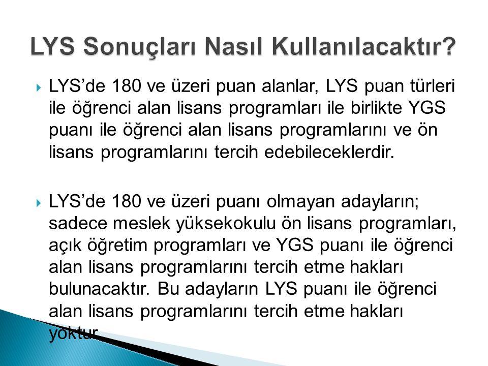  LYS'de 180 ve üzeri puan alanlar, LYS puan türleri ile öğrenci alan lisans programları ile birlikte YGS puanı ile öğrenci alan lisans programlarını ve ön lisans programlarını tercih edebileceklerdir.