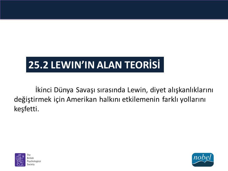 25.2 LEWIN'IN ALAN TEORİSİ İkinci Dünya Savaşı sırasında Lewin, diyet alışkanlıklarını değiştirmek için Amerikan halkını etkilemenin farklı yollarını keşfetti.