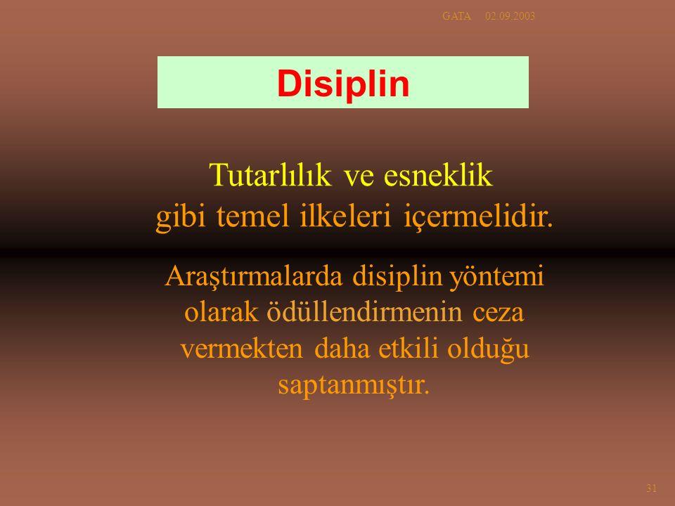 02.09.2003GATA 31 Tutarlılık ve esneklik gibi temel ilkeleri içermelidir. Disiplin Araştırmalarda disiplin yöntemi olarak ödüllendirmenin ceza vermekt