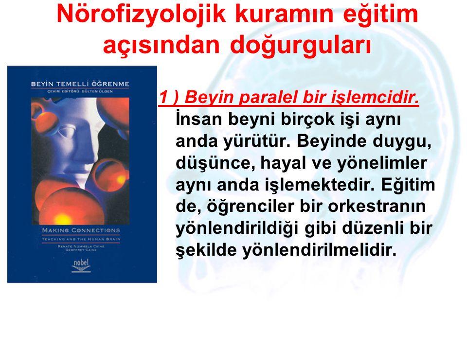 Nörofizyolojik kuramın eğitim açısından doğurguları 1 ) Beyin paralel bir işlemcidir. İnsan beyni birçok işi aynı anda yürütür. Beyinde duygu, düşünce