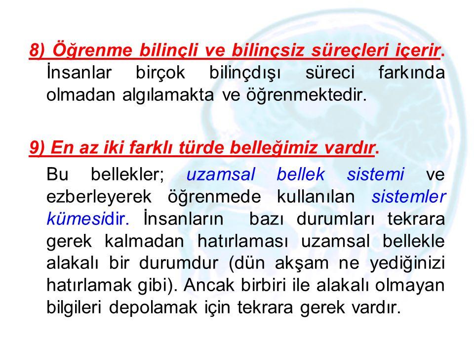 8) Öğrenme bilinçli ve bilinçsiz süreçleri içerir. İnsanlar birçok bilinçdışı süreci farkında olmadan algılamakta ve öğrenmektedir. 9) En az iki farkl