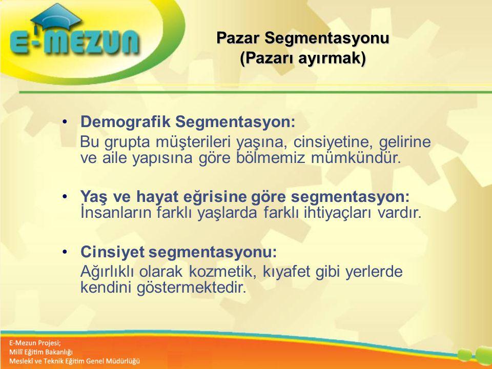 Faal 2.7 100 Genç Girişimcilik Eğitimi 1. MODÜL Girişimcilik Bana Göre mi ? Pazar Segmentasyonu (Pazarı ayırmak) Demografik Segmentasyon: Bu grupta mü