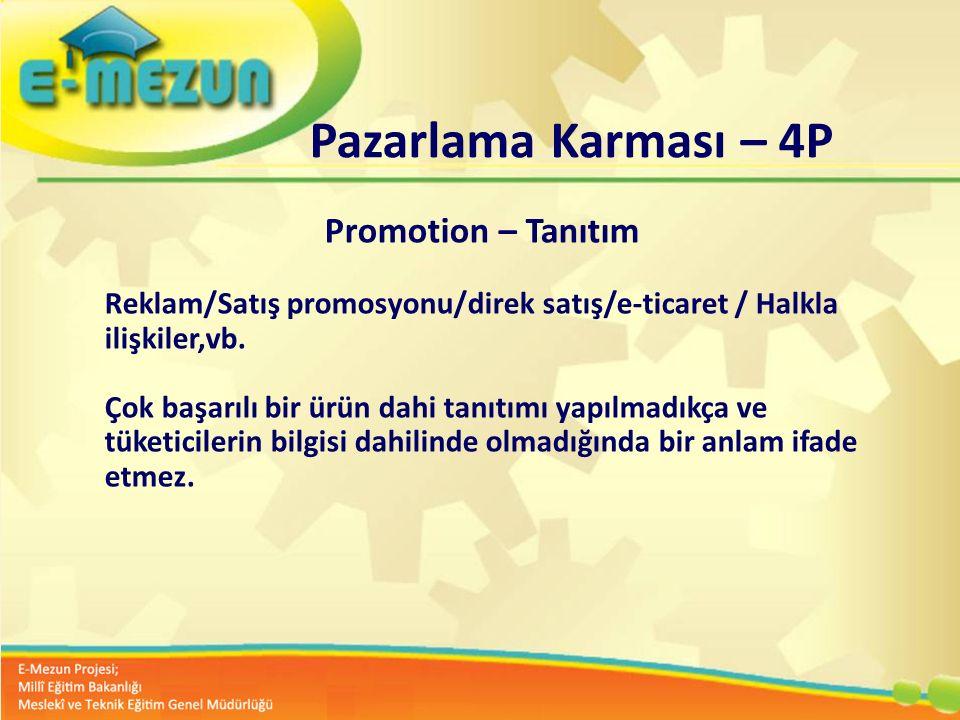 Faal 2.7 100 Genç Girişimcilik Eğitimi 1. MODÜL Girişimcilik Bana Göre mi ? Pazarlama Karması – 4P Promotion – Tanıtım Reklam/Satış promosyonu/direk s