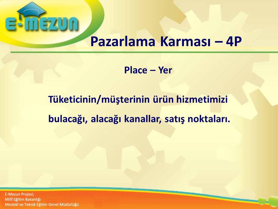 Faal 2.7 100 Genç Girişimcilik Eğitimi 1. MODÜL Girişimcilik Bana Göre mi ? Pazarlama Karması – 4P Place – Yer Tüketicinin/müşterinin ürün hizmetimizi