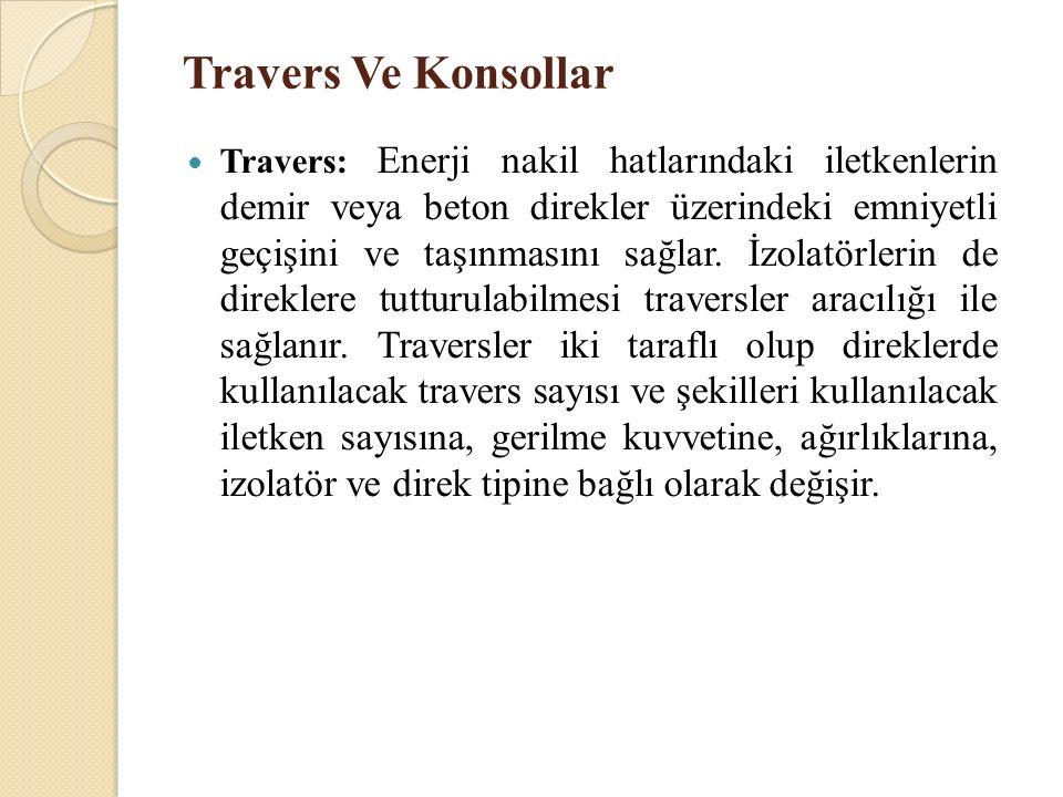 Travers Ve Konsollar Travers: Enerji nakil hatlarındaki iletkenlerin demir veya beton direkler üzerindeki emniyetli geçişini ve taşınmasını sağlar. İz