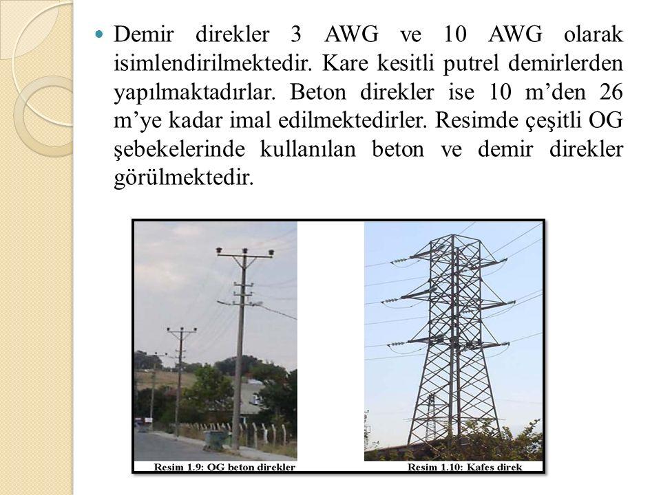 Demir direkler 3 AWG ve 10 AWG olarak isimlendirilmektedir. Kare kesitli putrel demirlerden yapılmaktadırlar. Beton direkler ise 10 m'den 26 m'ye kada