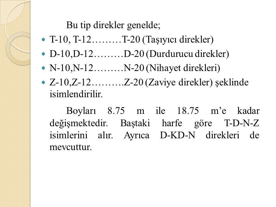 Bu tip direkler genelde; T-10, T-12………T-20 (Taşıyıcı direkler) D-10,D-12………D-20 (Durdurucu direkler) N-10,N-12………N-20 (Nihayet direkleri) Z-10,Z-12………