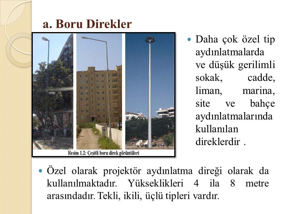 a. Boru Direkler Daha çok özel tip aydınlatmalarda ve düşük gerilimli sokak, cadde, liman, marina, site ve bahçe aydınlatmalarında kullanılan direkler