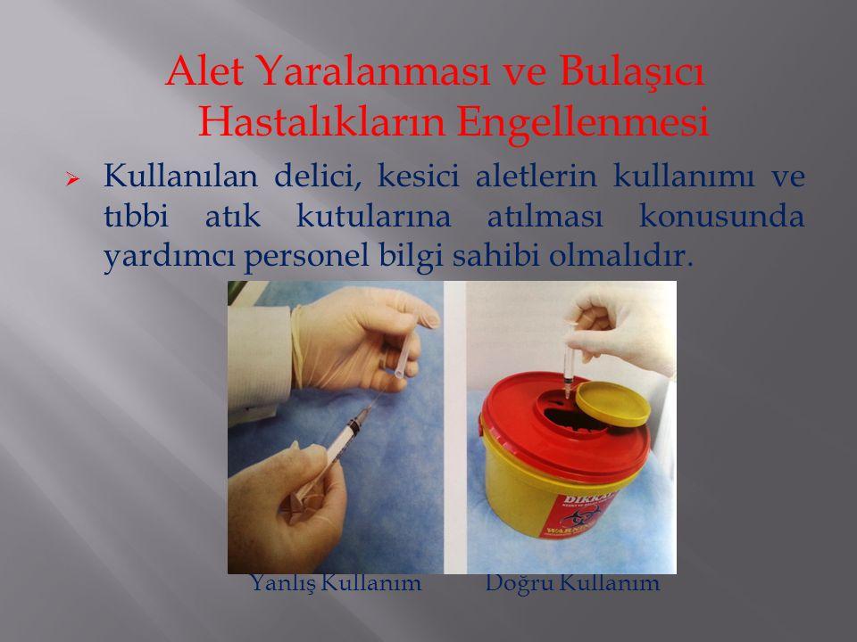 Alet Yaralanması ve Bulaşıcı Hastalıkların Engellenmesi  Kullanılan delici, kesici aletlerin kullanımı ve tıbbi atık kutularına atılması konusunda ya
