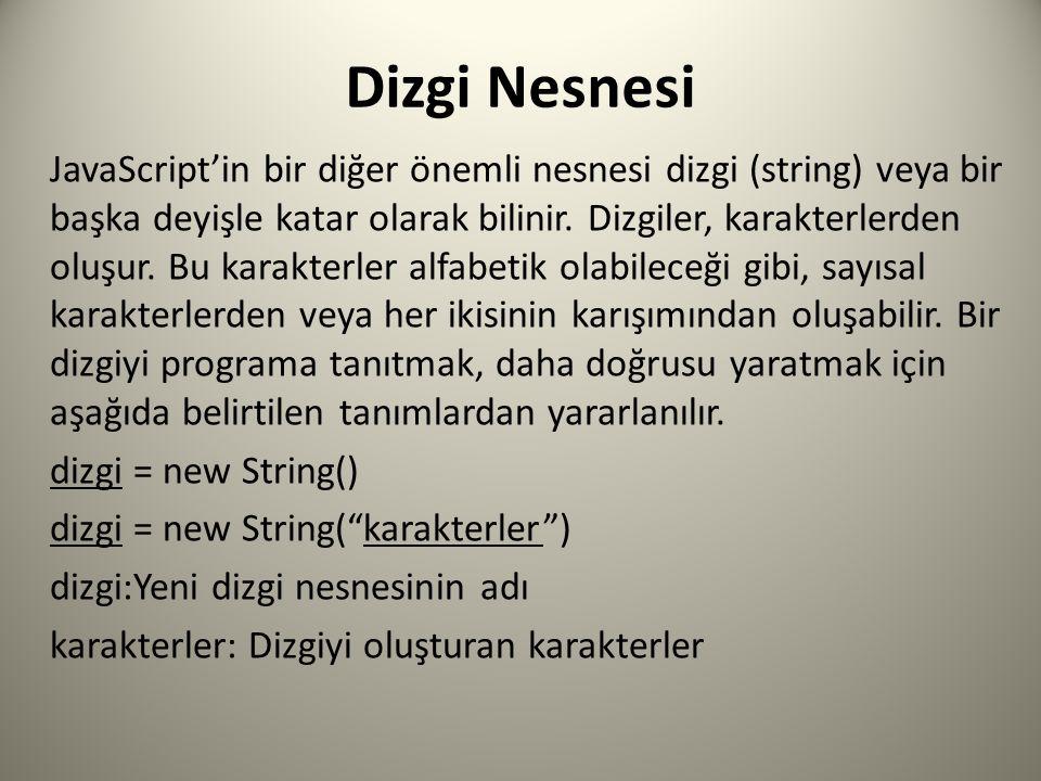 Dizgi Nesnesi JavaScript'in bir diğer önemli nesnesi dizgi (string) veya bir başka deyişle katar olarak bilinir.
