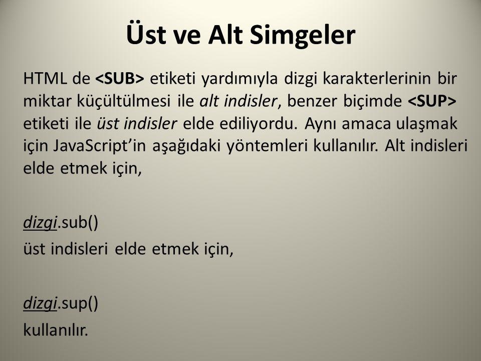 Üst ve Alt Simgeler HTML de etiketi yardımıyla dizgi karakterlerinin bir miktar küçültülmesi ile alt indisler, benzer biçimde etiketi ile üst indisler elde ediliyordu.