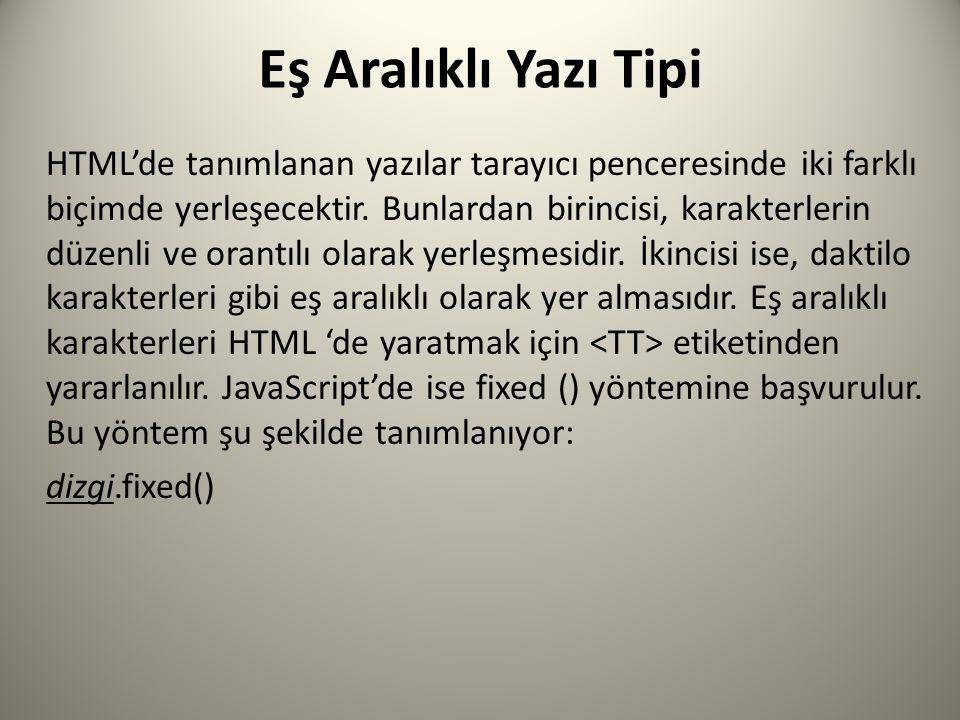 Eş Aralıklı Yazı Tipi HTML'de tanımlanan yazılar tarayıcı penceresinde iki farklı biçimde yerleşecektir.
