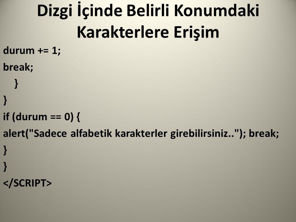 Dizgi İçinde Belirli Konumdaki Karakterlere Erişim durum += 1; break; } if (durum == 0) { alert( Sadece alfabetik karakterler girebilirsiniz.. ); break; }