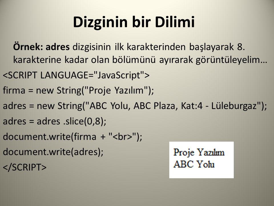 Dizginin bir Dilimi Örnek: adres dizgisinin ilk karakterinden başlayarak 8.