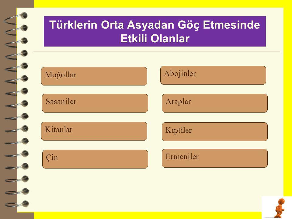 . Türklerin Orta Asyadan Göç Etmesinde Etkili Olanlar Moğollar Kitanlar Çin Sasaniler Abojinler Araplar Kıptiler Ermeniler