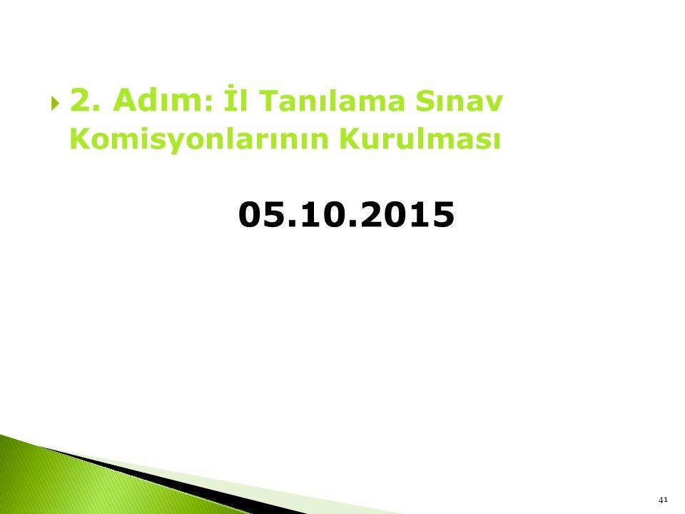  2. Adım : İl Tanılama Sınav Komisyonlarının Kurulması 05.10.2015 41