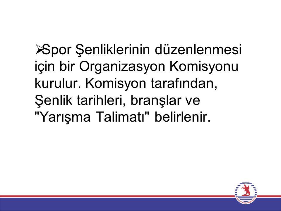  Spor Şenliklerinin düzenlenmesi için bir Organizasyon Komisyonu kurulur.