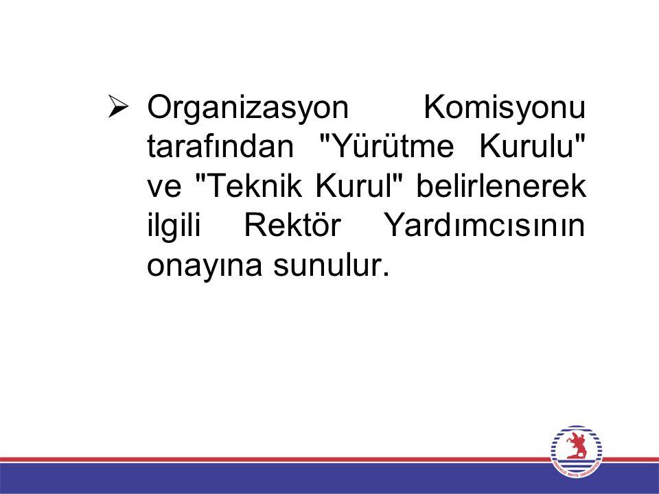  Organizasyon Komisyonu tarafından Yürütme Kurulu ve Teknik Kurul belirlenerek ilgili Rektör Yardımcısının onayına sunulur.