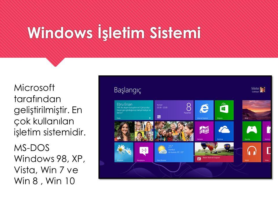 Windows İşletim Sistemi Microsoft tarafından geliştirilmiştir. En çok kullanılan işletim sistemidir. MS-DOS Windows 98, XP, Vista, Win 7 ve Win 8, Win
