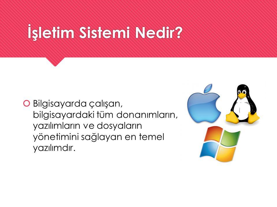 İşletim Sistemi Nedir?  Bilgisayarda çalışan, bilgisayardaki tüm donanımların, yazılımların ve dosyaların yönetimini sağlayan en temel yazılımdır.