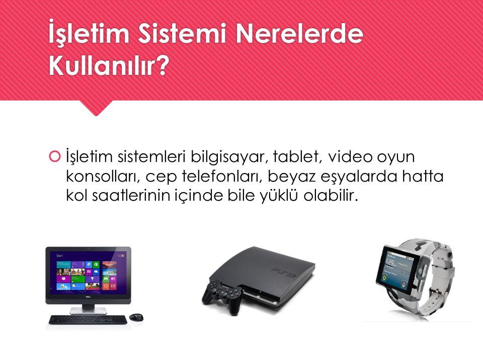 İşletim Sistemi Nerelerde Kullanılır?  İşletim sistemleri bilgisayar, tablet, video oyun konsolları, cep telefonları, beyaz eşyalarda hatta kol saatl