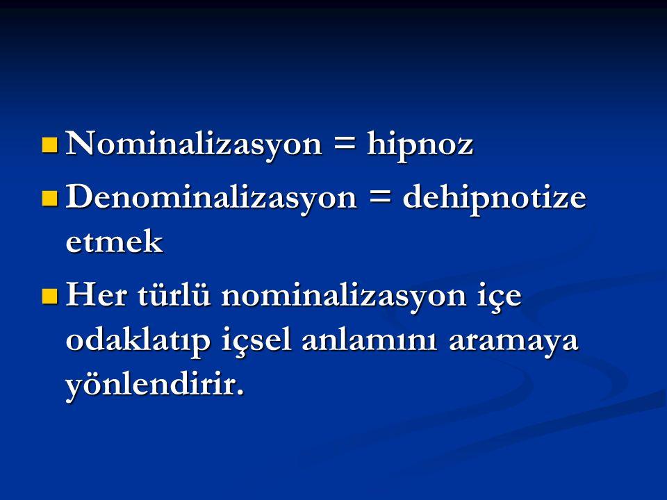 Nominalizasyon = hipnoz Nominalizasyon = hipnoz Denominalizasyon = dehipnotize etmek Denominalizasyon = dehipnotize etmek Her türlü nominalizasyon içe odaklatıp içsel anlamını aramaya yönlendirir.