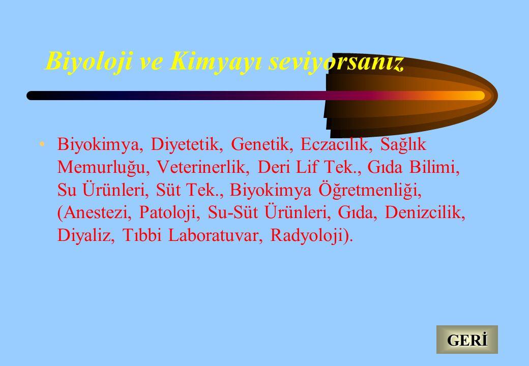 Astronomi, Biyoloji, Fizik, Kimya, Diyetetik, Eczacılık, Tıbbi Bilimler, Jeofizik, Matematik Mühendisliği, Seramik, Su Ürünleri, Antropoloji, Klasik A