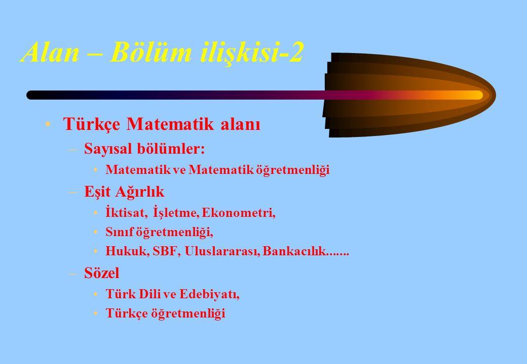 Alan – Bölüm ilişkisi-1 Fen ve Matematik alanı –Sayısal bölümler: Mühendislikler Fizik-Kimya-Biyoloji Tıbbi Bilimler vs. –Eşit Ağırlık İktisat, İşletm