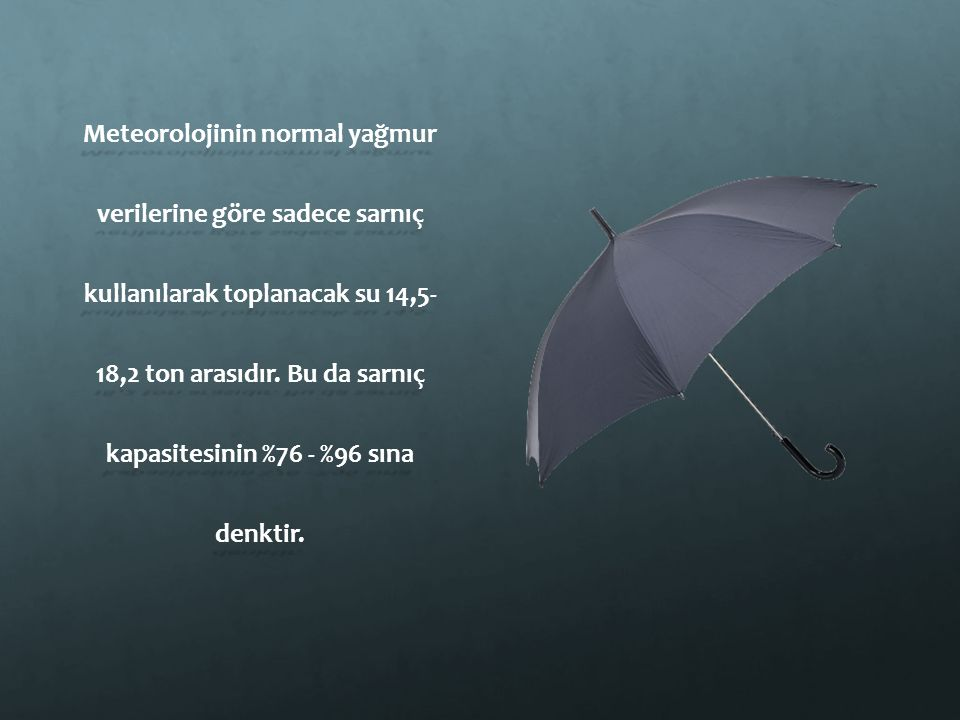 Meteorolojinin normal yağmur verilerine göre sadece sarnıç kullanılarak toplanacak su 14,5- 18,2 ton arasıdır. Bu da sarnıç kapasitesinin %76 - %96 sı