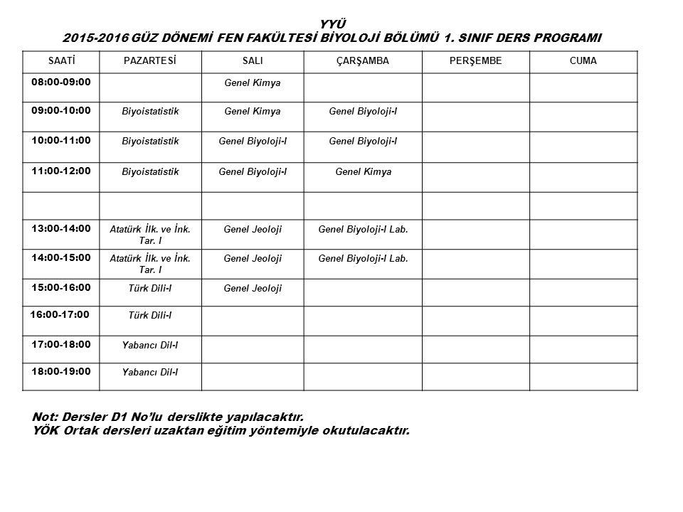 SAATİPAZARTESİSALIÇARŞAMBAPERŞEMBECUMA 08:00-09:00 Genel Kimya 09:00-10:00 BiyoistatistikGenel KimyaGenel Biyoloji-I 10:00-11:00 BiyoistatistikGenel Biyoloji-I 11:00-12:00 BiyoistatistikGenel Biyoloji-IGenel Kimya 13:00-14:00 Atatürk İlk.