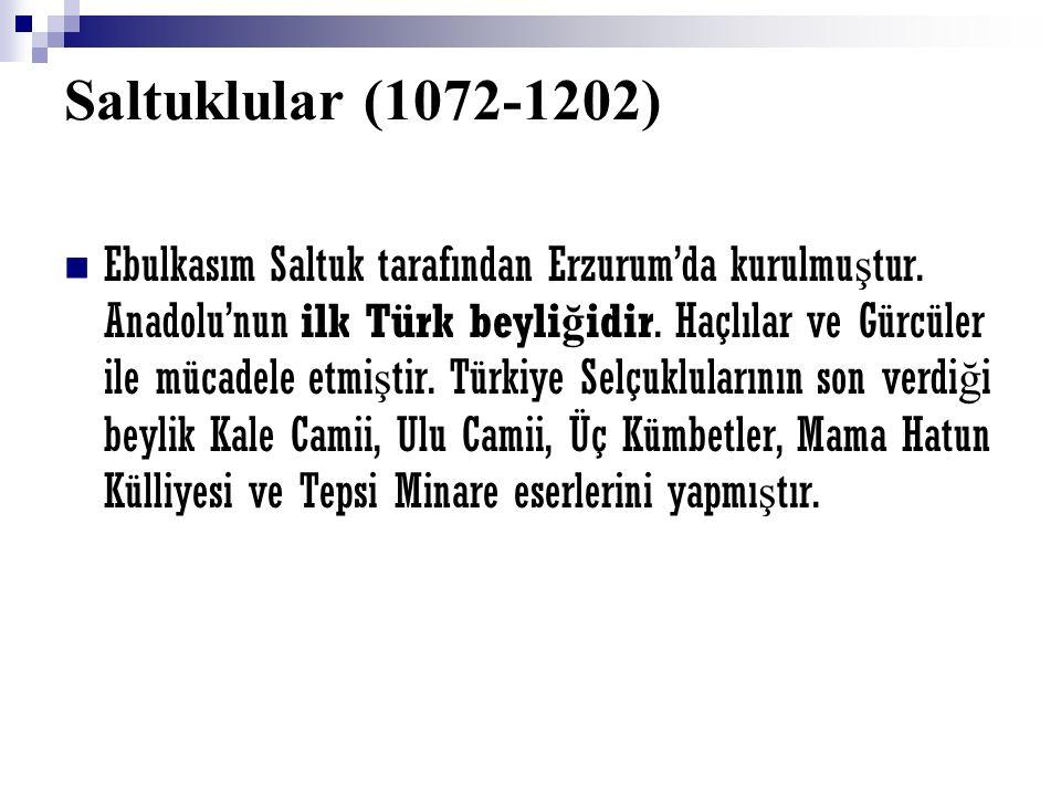 Saltuklular (1072-1202) Ebulkasım Saltuk tarafından Erzurum'da kurulmu ş tur. Anadolu'nun ilk Türk beyli ğ idir. Haçlılar ve Gürcüler ile mücadele etm