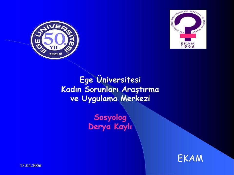 13.04.2006 Ege Üniversitesi Kadın Sorunları Araştırma ve Uygulama Merkezi Sosyolog Derya Kaylı EKAM
