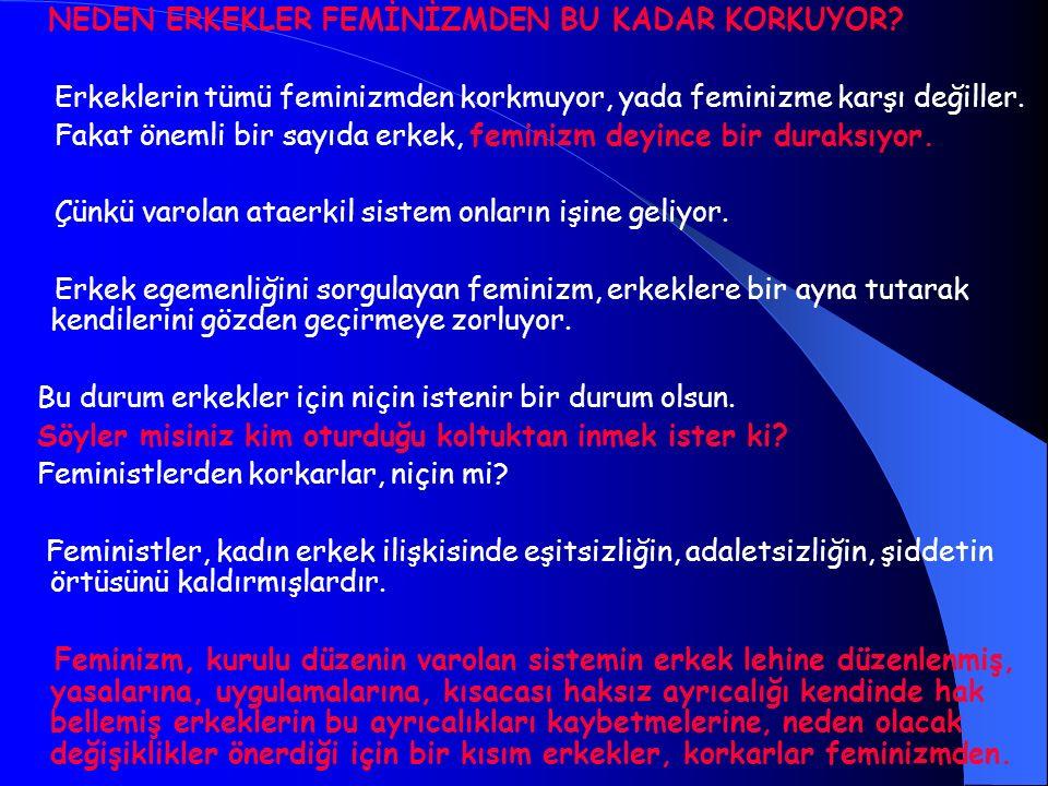 NEDEN ERKEKLER FEMİNİZMDEN BU KADAR KORKUYOR? Erkeklerin tümü feminizmden korkmuyor, yada feminizme karşı değiller. Fakat önemli bir sayıda erkek, fem