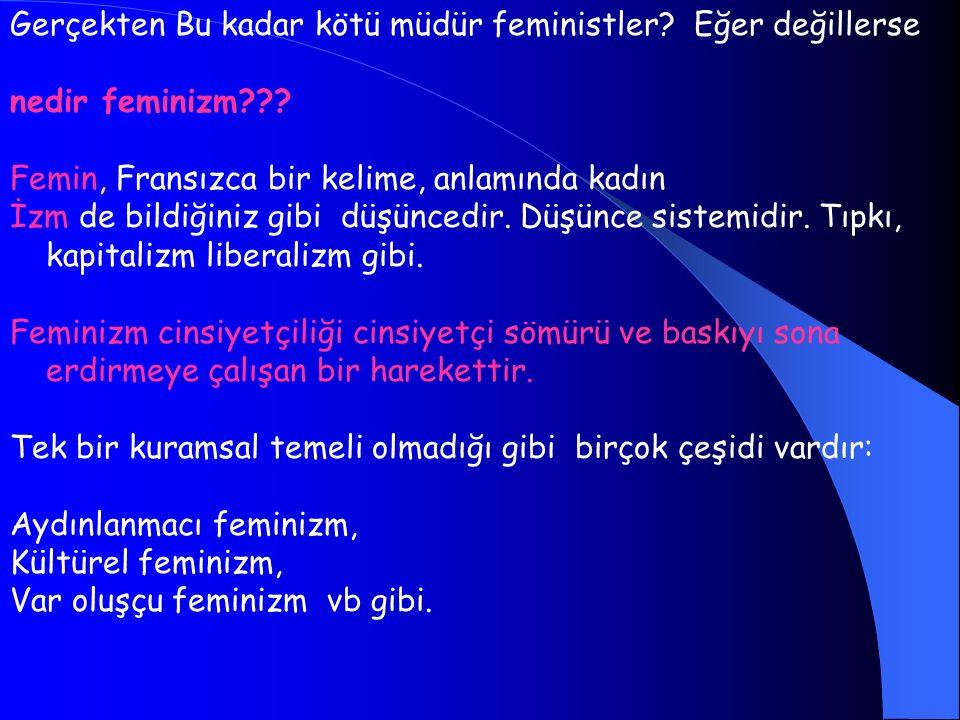 Gerçekten Bu kadar kötü müdür feministler? Eğer değillerse nedir feminizm??? Femin, Fransızca bir kelime, anlamında kadın İzm de bildiğiniz gibi düşün