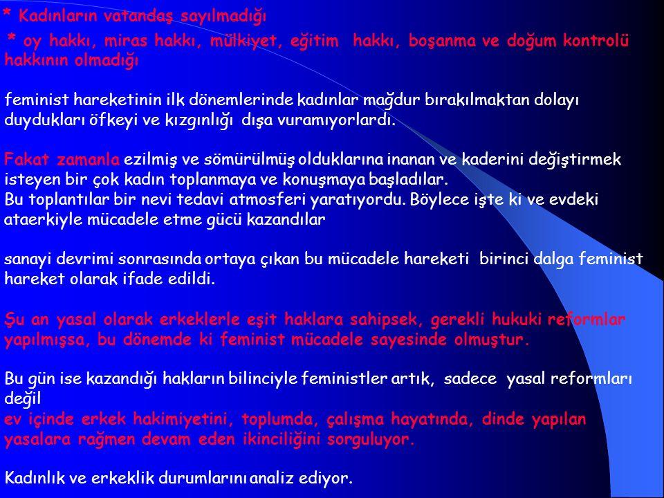* Kadınların vatandaş sayılmadığı * oy hakkı, miras hakkı, mülkiyet, eğitim hakkı, boşanma ve doğum kontrolü hakkının olmadığı feminist hareketinin il