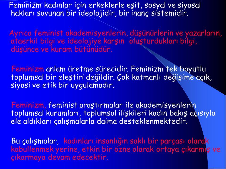Feminizm kadınlar için erkeklerle eşit, sosyal ve siyasal hakları savunan bir ideolojidir, bir inanç sistemidir. Ayrıca feminist akademisyenlerin, düş