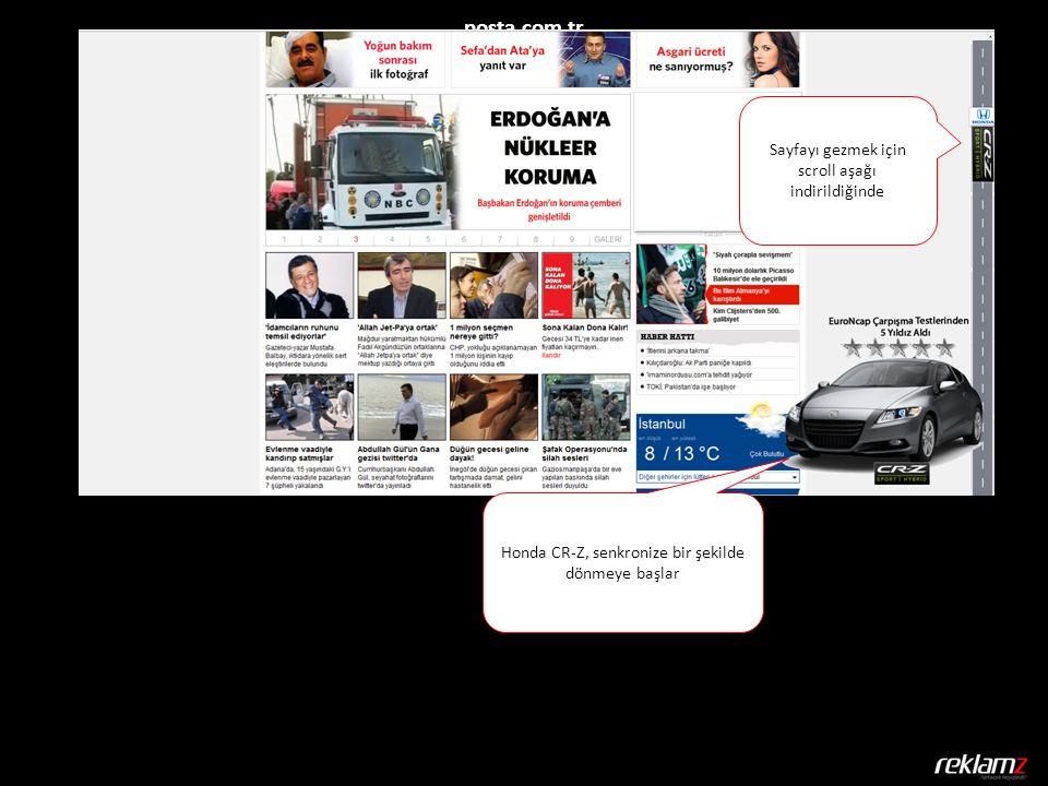 posta.com.tr Honda CR-Z, senkronize bir şekilde dönmeye başlar Sayfayı gezmek için scroll aşağı indirildiğinde